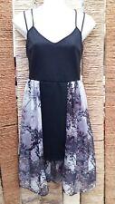 MISS SELFRIDGE PETITE BNWT Black Dress With Floral Sheer Skirt Size 10 RRP £39