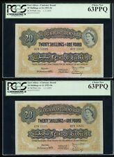East Africa 2 x 20 shillings 1955 QEII P#35 PCGS 63PPQ Consecutive Pair UNC