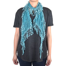 Lace Scarf Long Melon Seed Fringe Tassel Sheer Tear Drop Floral Embroidery