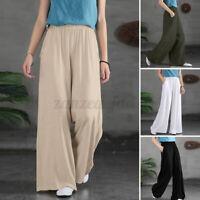 UK Womens Elastic High Waist Palazzo Trousers Casual Loose Wide Leg Solid Pants