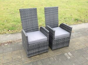 2 pc single recline rattan chair grey with seat cushion