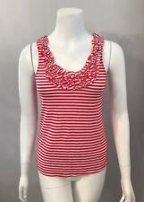 Beautiful Kimchi Blue Red White Striped Ruffle Trim Knit Tank Top Size XS