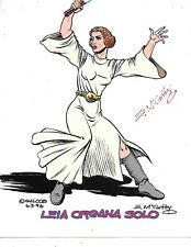 "STAR WARS ""Leia Organa Solo"" Box Cover Package Art Color Print SIGNED E McCarthy"