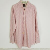 Tailorbyrd Mens XXL Pink Stripe Long Sleeve Button Up Office Dress Shirt