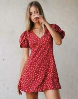 MOTEL ROCKS Elfira Dress in Falling for You Floral Red S Small  (mr86)