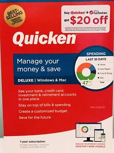 QUICKEN DELUXE 2021 LATEST RELEASE W/ CD INSIDE FOR WINDOWS & MAC , NEW IN BOX