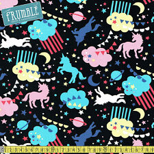 Kokka (Japan) Fabric CANVAS Trefle Unicorn Heaven Black PER METRE Rainbow Fantas