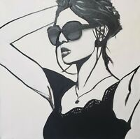 "Hand painted  Original 20"" x 20"" Black and White Sassy Woman Gallery Wraped"