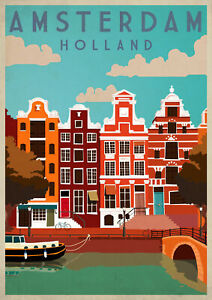 AMSTERDAM HOUSE Vintage Retro Travel And Railway Print Poster Wall Picture A4 +