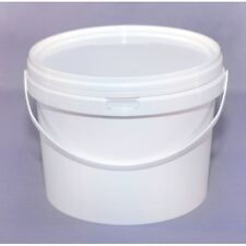1Ltr. Plastic Buckets Tubs Containers with Lids Food grade WHITE 1000ML European