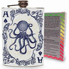 Octopus Flask Ace of Spades 8oz Silver Metal Hip Liquor Drinking Alcohol Flasks