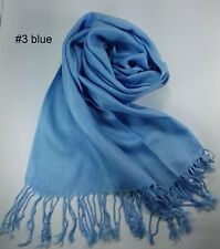 New Scarf Blue Wrap Shawl Tassel Long Lady Women Girl Winter Solid Pure Color