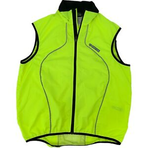 Pearl Izumi Cycling Vest Full Men's Size L Reflective Neon Full Zip Sleeveless