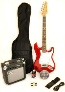 SX RST 3/4 CAR Red Electric Guitar Package 3/4 Size w/Amp, Bag
