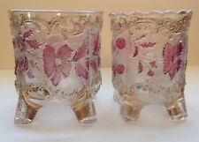 Antique Us Glass Co Pressed Glass Footed Bowls W/ Gilt & Amethyst Floral Pattern