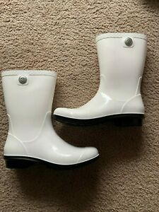Womans  Ugg White Rain Boots - Size 7