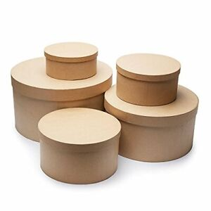 Unfinished Round Graduated Size Paper Mache Boxes with Lids for Crafting - 5 Box