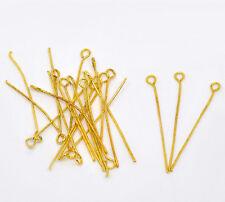 400pcs Gold Plated Eye Pins 35x0.7mm(21 Gauge)