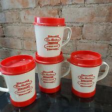 Lot of 4 Vintage Tim Hortons Plastic Travel Mugs Cups Stick On Base Aladdin
