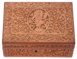 Antique Anglo Indian Intricately Carved Wooden Trinket Box Sandalwood India Old
