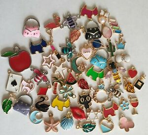 Random Mix - 1p AUCTION - Oil Drop Charms - Crafts - Hobby -Jewellery Making