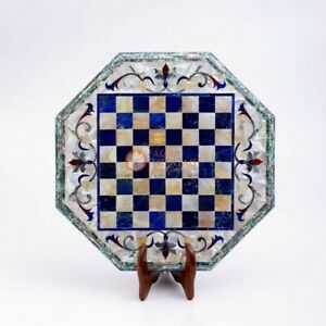 Marble Chess Board With Wooden Stand Indoor Adult Chess Game Handmade Gifts Her