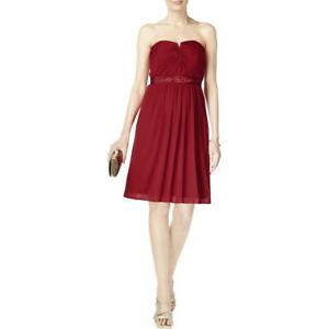 Adrianna Papell Womens Red Embellished Strapless Cocktail Dress 8  6087