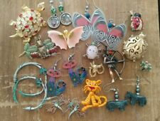 Junk Jewelry Drawer Lot Animals Butterflies Bugs Cats Dragonflies Rhinestones