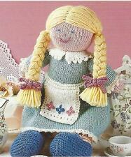 """Girls Annie Toy Doll Knitting Pattern in DK with Apron and Pigtails 14""""  826"""