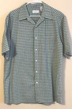 Covington Mens Button Front Shirt Size Large (42-44) Green Checks Short Sleeves