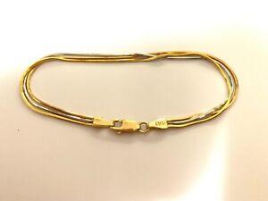 18ct. Gold 3 Tone Square Serpentine Bracelet - 18cm - NEW