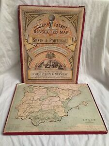 Elsick's Dissected Jigsaw Map of Spain & Portugal, Original Box 1880s, Philip