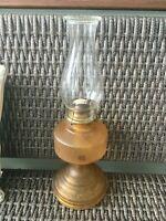 """Vintage Embossed Design Amber Glass Kerosene Oil Hurricane Lamp 18"""" Tall"""