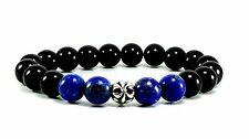"8"" MENS Black Onyx Lapis Lazuli Sterling Silver 925 Fleur-de-lis Beaded Bracelet"