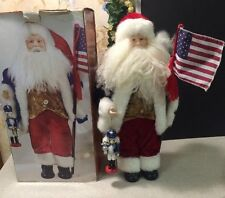 "July 4th Santa Claus Figurine 18"" Tall Holds American Flag & Nutcracker"