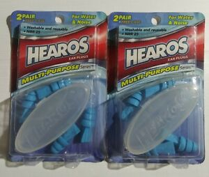 2 Boxes Of Hearos Multi Use Ear Plugs For Water Or Noise NRR 25 4 Pair + Cases