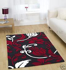 EXTRA LARGE THICK DAMASK MODERN RUG BLACK WHITE RED DAMASK FLORAL RUG 190X290