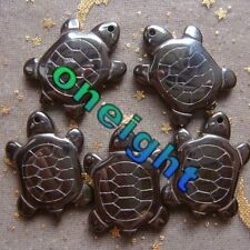 Hot 5Pcs Carved Hematite Gemstone Turtle Pendant Beads 143s