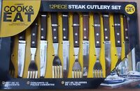 12 PC SET SHARP STEAK KNIVES AND FORKS SET WOODEN WOOD HANDLES CUTLERY