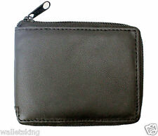 Men Black Zipped Leather Wallet For Cards, Notes With RFID Fraud Protection 1184