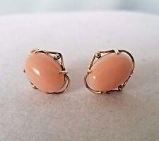 Vintage 18K Solid Yellow Gold Angel Skin Coral Pierced Earrings