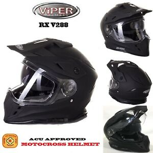 Casco Motocross Quad Moto off-road Cross VIPER Crash Enduro Doppia Visier Caschi
