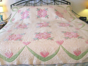 """Vintage Hand Made Applique' Quilt - 81"""" x 73"""" - Hand Quilted-Pink Backing-WOW"""
