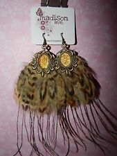 NEW Madison Ave Earrings Brown Bronze tone Faux Feather wire Country Western