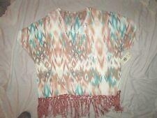 NEW! $98 REBA 2X plus size southwest green beige brown shirt top blouse womens