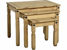 Seconique Corona Nest of Tables x 3 - Waxed Mexican Solid Pine