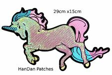 Extra Large Sequin Unicorn Iron On Patch-  29 x 15cm Embroidered Applique Badge