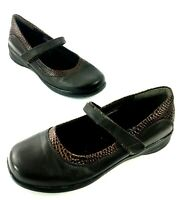 Apex Julia Shoes Womens Mary Jane Brown Leather Size7.5m Faux Croc Detail