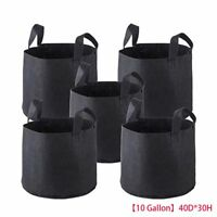 5 Pack Fabric Grow Pots Breathable Planter Bags 3 5 7 10 Gallon Smart bags Blac