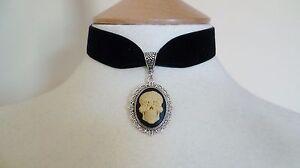 Day of the Dead Sugar Skull Cameo Choker Black Velvet Gothic Halloween Necklace